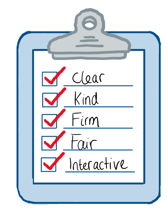 A checklist of what makes a good teacher; - Being clear - Kind - Firm - Fair - and interactive