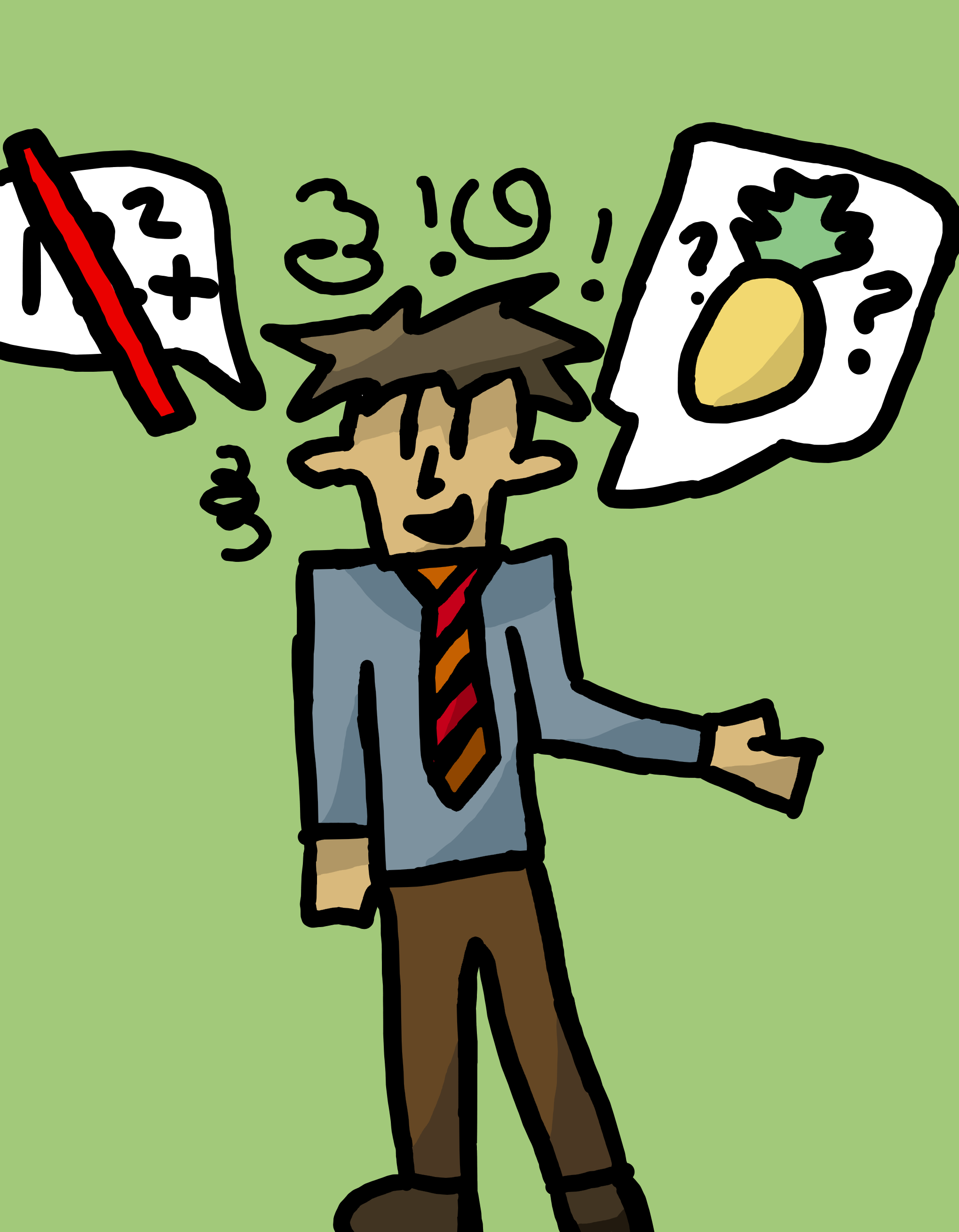 A drawing of a tecaher going off subject, from maths to talking about fruit.