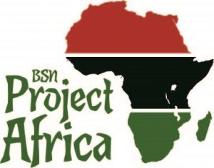 "Picture of Africa in the colours of the Kenyan flag. ""BSN Project Africa"" is captioned on the left"