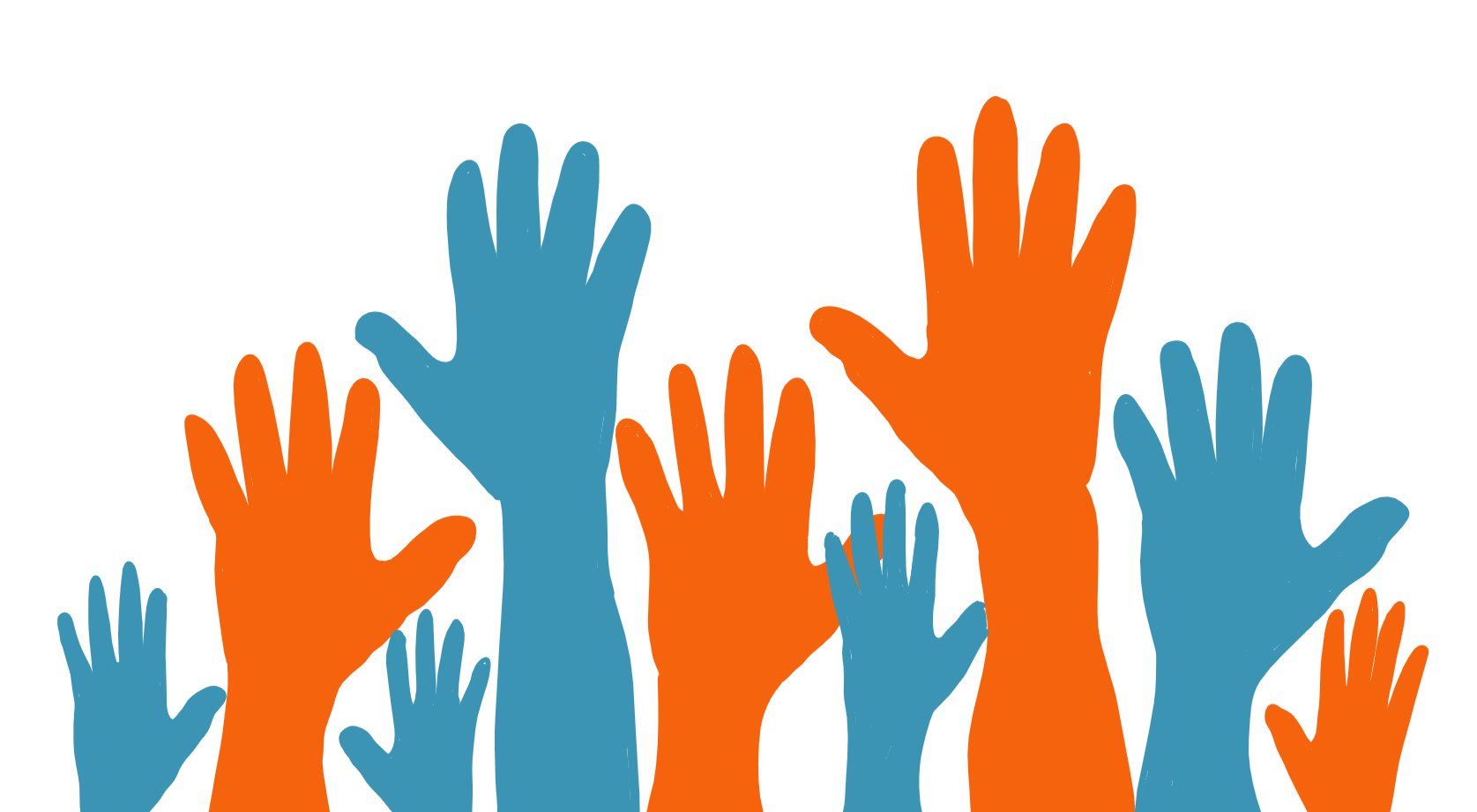An image of many raised hands coloured in blue and orange.